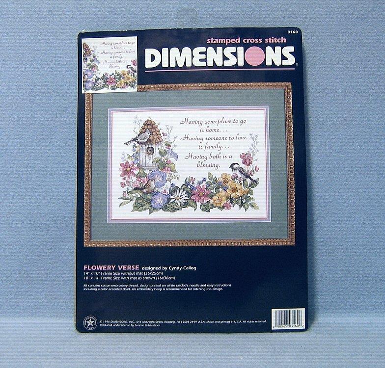 Dimensions Flowery Verse Cyndy Callog Stamped Cross Stitch Kit #3160 NIP - $9.99