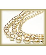 Champagne Faux Pearl Strands Necklace with Satin Ribbon New - $34.99