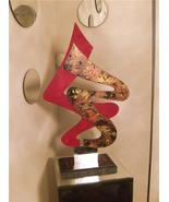 Contemporary MOdern Abstract Art Wood with Mirror Two-Sided Table Sculpture - $299.99