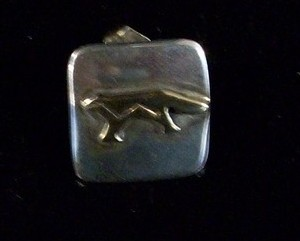 Navajo Storybook 14kt & Sterling Silver, Wolf Stud Earrings, New