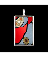 Abstract Glass Red & Silver  Photograph Pendant... - $19.99