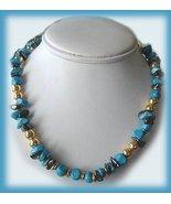 Vintage Genuine Turquoise & Hematite Stones Necklace - $19.99