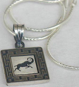 Aries zodiac silver pendant