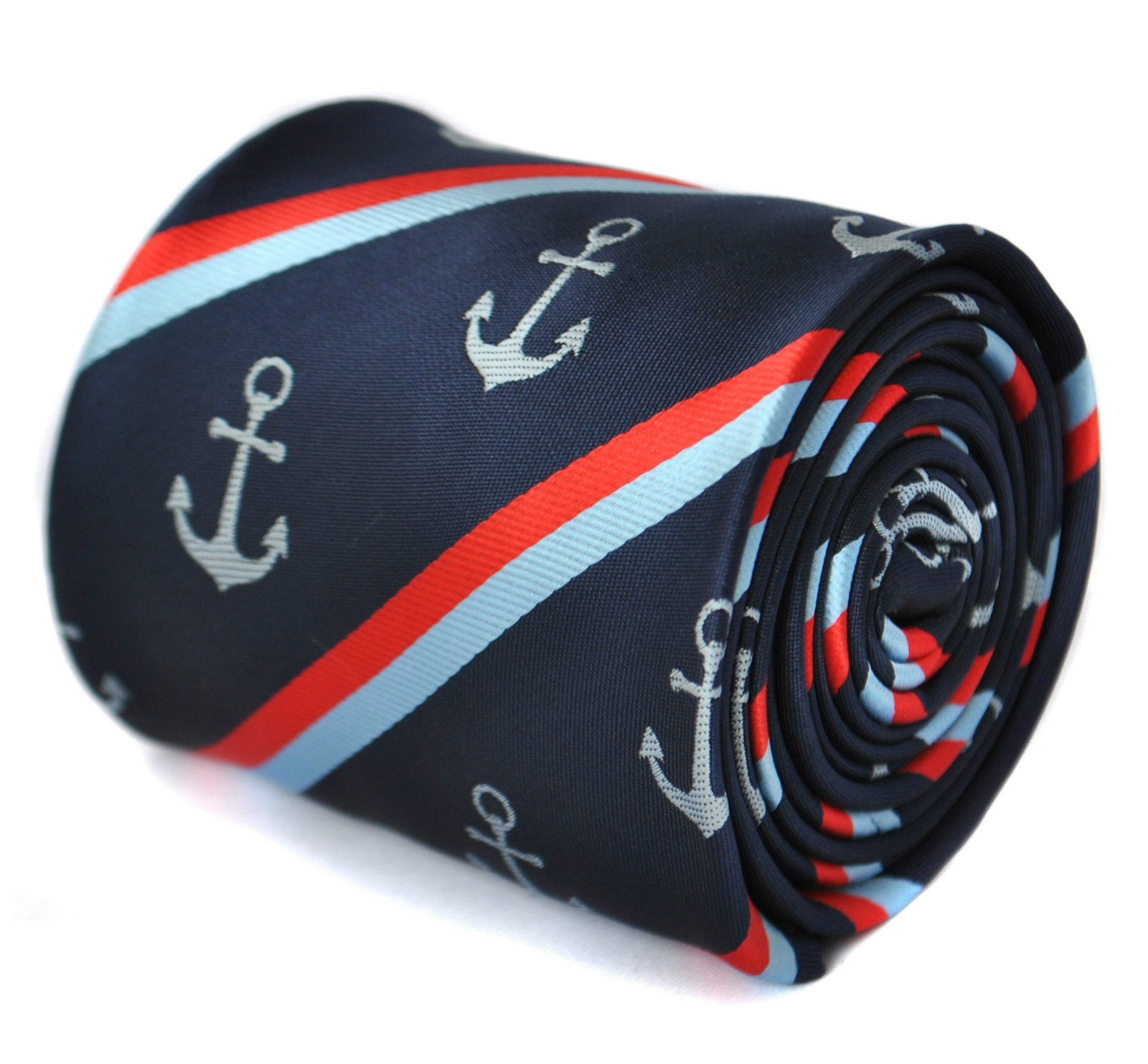 Frederick Thomas Navy Mens Tie & Anchor with stripe FT1868 nautical sea ocean