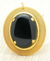 Black Jet Stone Agate Gold Tone Large Pendant Vintage - $29.69