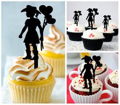 Wedding,Birthday,Cupcake topper,silhouette little boy-girl cowboy in love 10 pcs - $10.00