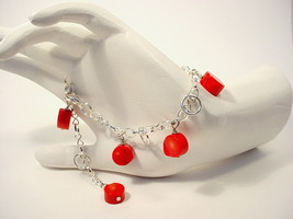Red Coral and Silver Chain Bracelet, with Red Bamboo Coral Coins - $35.00