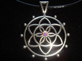 Beauty Seed of Life Lotus Mandala w Swarovski Zill Crystal Necklace/Altar Piece  - $13.00