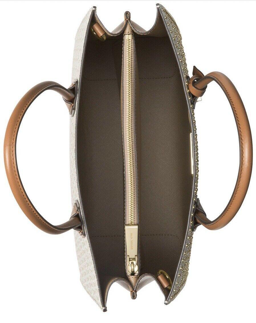 e69d312a171e5b NWT Michael Kors Mercer Stud & Grommet Large Convertible Tote BROWN MSRP  $378.00