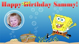 Sponge Bob Square Pants -Custom- Vinyl Birthday Banner w/ Photo - $39.95