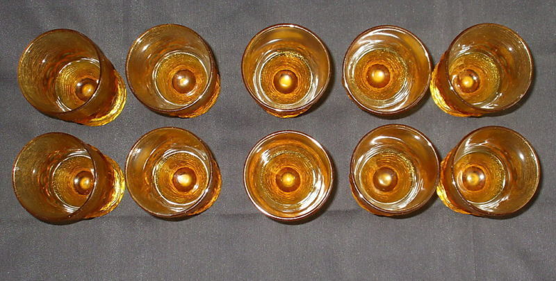 Amber Glass Collector Vintage Set 10 Water Juice 6 oz