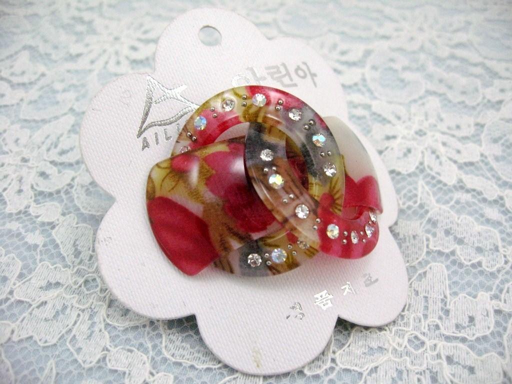 LOVELY PINK ROSE FLOWER RHINESTONE HAIR SCRUNCHIES PONY TAIL image 5
