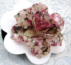 LOVELY PINK ROSE FLOWER RHINESTONE HAIR SCRUNCHIES PONY TAIL image 6