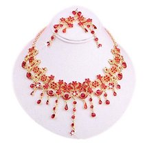 Beautiful Wedding Charm & RED Bead Necklace & Clip-on Earrings Set for Bride