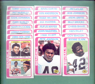 1978 Topps Cincinnati Bengals Football Team Set