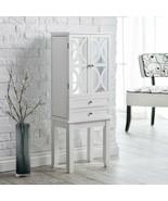 White Lattice Mirrored Wooden Jewelry Armoire Storage Cabinet 6 Drawer O... - $274.13