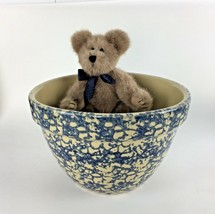 Roseville Blue Splatter Spongeware Mixing Bowl Dish Art Pottery Ohio RRF... - $64.34