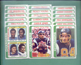 1978 Topps San Diego Chargers Football Set
