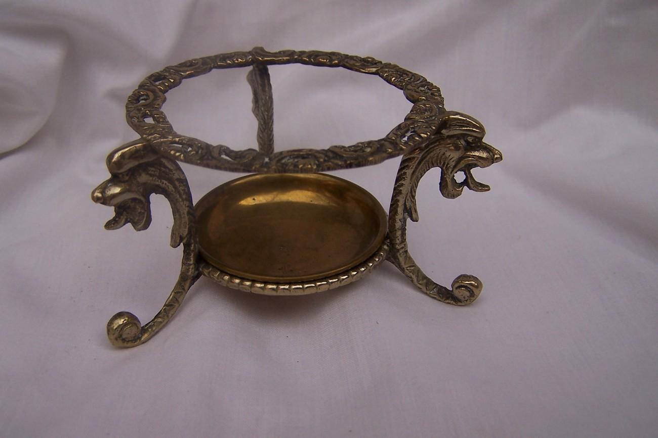Antique Tea Strainer Stand Brass Silver 3 Pieces Estate