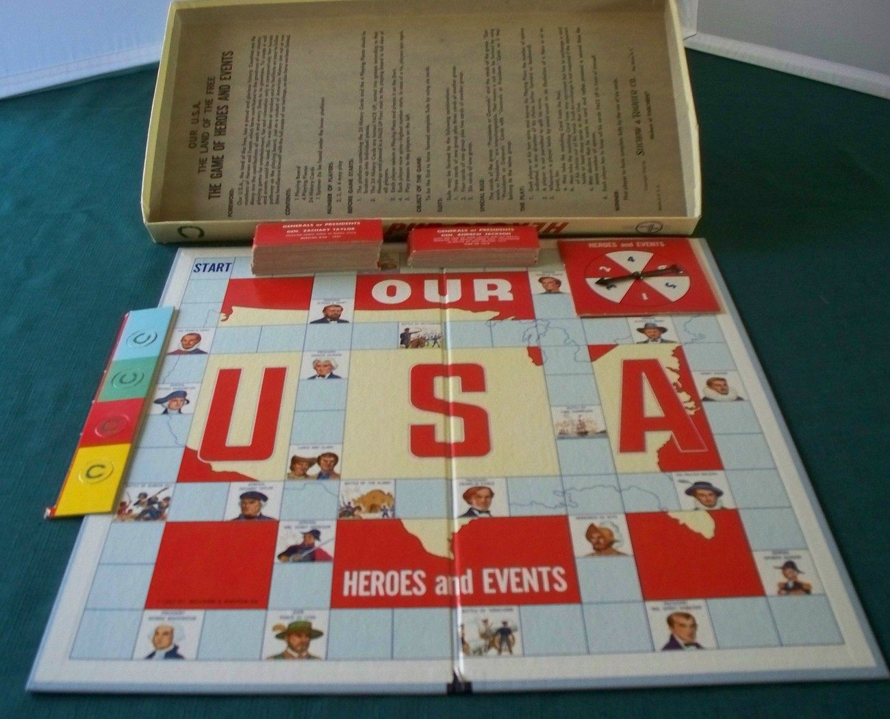 The Game Of Heroes and Events Selchow & Righter 1962 VGC