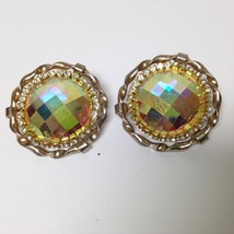 Vintage, Rare 1950s, Gold Tone, Iridescent Rhinestone Clip Earrings - $5.65