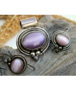 Vintage Mexico Sterling Silver Pendant Earrings Cats Eye ATI - £49.45 GBP