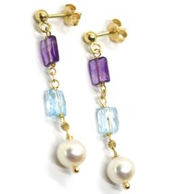 18K YELLOW GOLD PENDANT EARRINGS, PEARL, BLUE TOPAZ, AMETHYST, 1.54 INCHES image 2