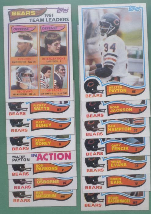 1982 Topps Chicago Bears Football Team Set