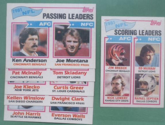 1982 Topps League Leaders Football Set