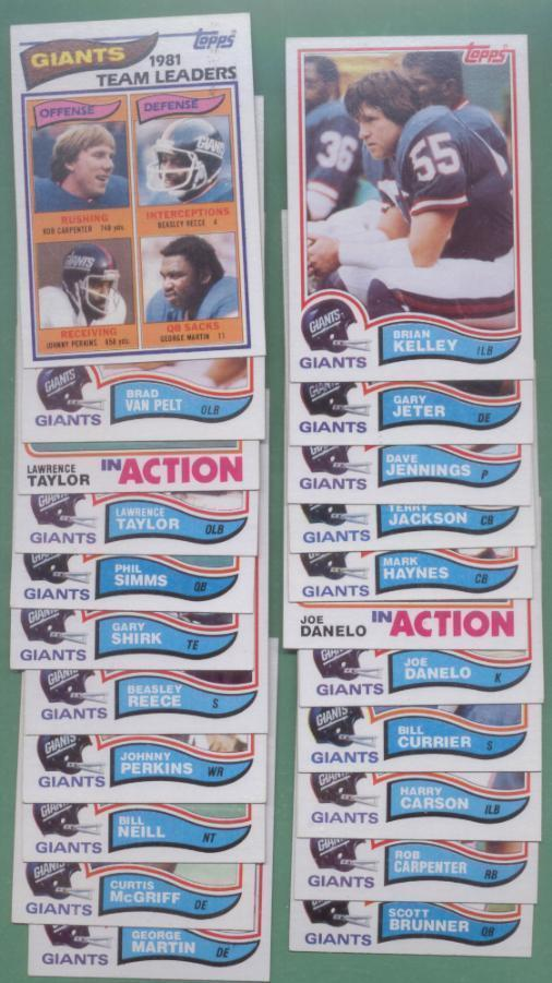 1982 Topps New York Giants Football Set