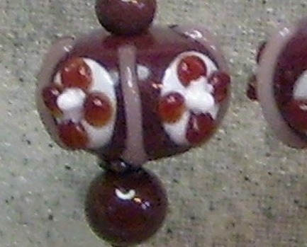 Chocolate Colored Lamp Work Sterling Silver  Earrings