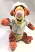 "Disney Store 14"" Tigger Christmas Holiday Plush White Blue Sweater & Hat - $23.75"