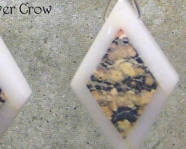 Leopardskin Intarsia & Argentium Sterling Silver Earrings