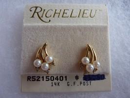 Vintage Richelieu Earrings Gold Tone with Pearl Rhinestone Pierced post - $14.65
