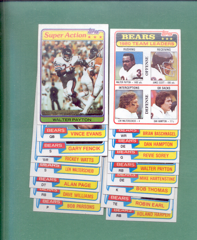 1981 Topps Chicago Bears Football Set