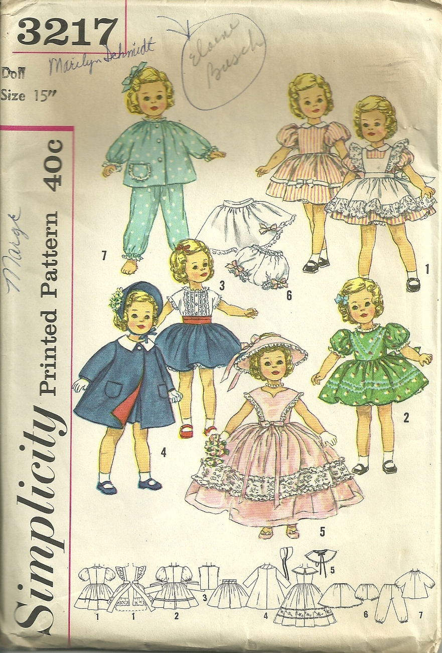 "Primary image for Simplicity 3217 - 15"" Shirley Temple Dolls - Complete wardrobe - Vintage Pattern"