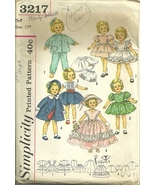 "Simplicity 3217 - 15"" Shirley Temple Dolls - Complete wardrobe - Vintage... - $26.95"