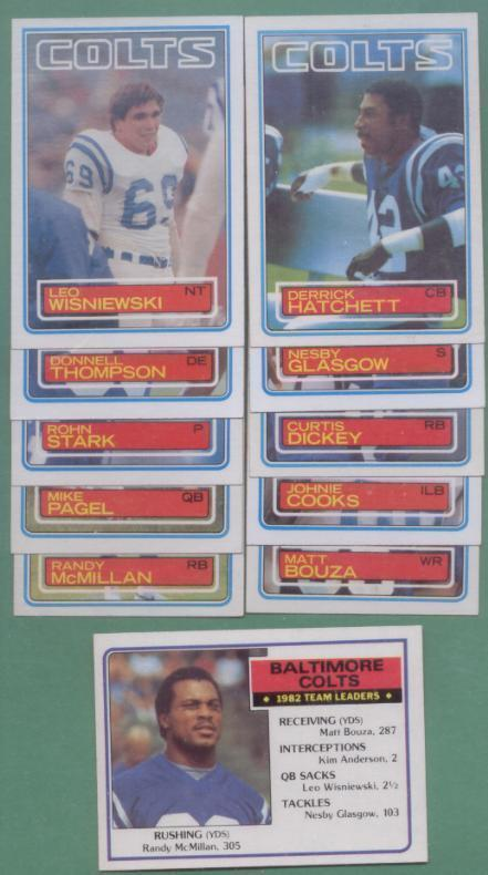 1983 Topps Baltimore Colts Football Team Set