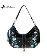 Montana West Embroidered, Feather Charm Silver Studs Tassels Hobo Handba... - $59.99
