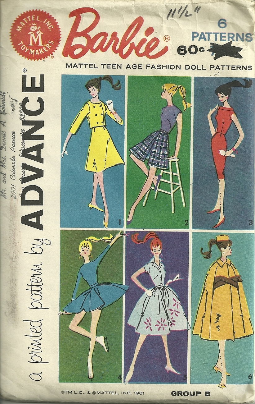 Primary image for Barbie group B Teen age fashion Doll Clothes Patterns VTG 1961