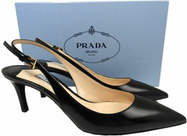 Prada Kid Leather Slingbacks Pumps Black Kitten Heel Sandals Pointy Toe ... - $249.00