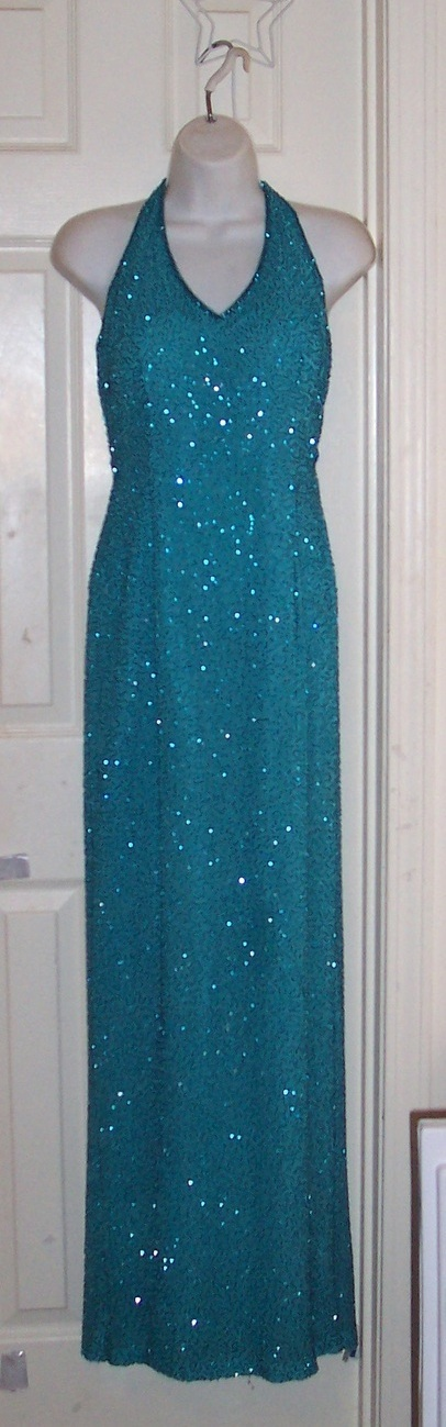$450+ Exquisite BEADED Halter SILK Aqua Blue Gown Dress 6