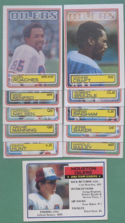 1983 Topps Houston Oilers Football Team Set