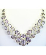 Lilac or Lavender faceted Pink Amethyst Ovals Sterling Silver Necklace 925 - $423.00