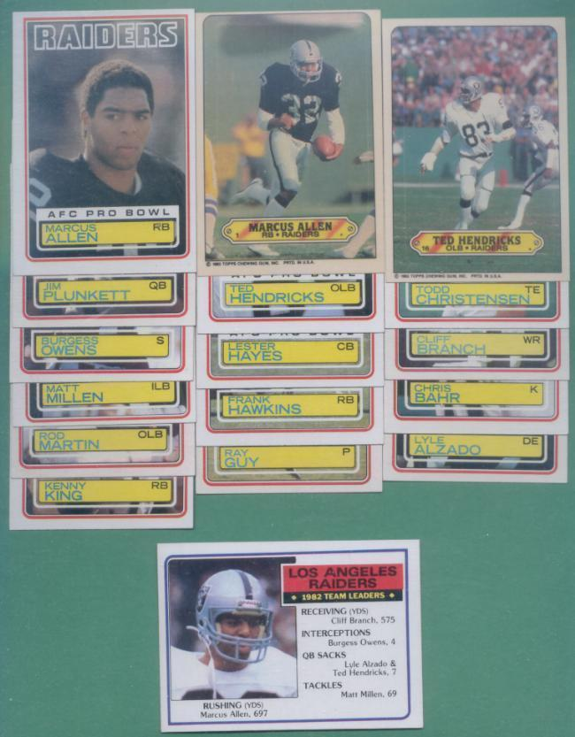 1983 Topps Los Angeles Raiders Football Team Set