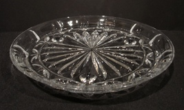 "Block Crystal Platter 10.5"" ~ Three Footed ~ Tulip Garden  Pattern - $24.00"