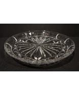 """Block Crystal Platter 10.5"""" ~ Three Footed ~ Tulip Garden  Pattern - $24.00"""
