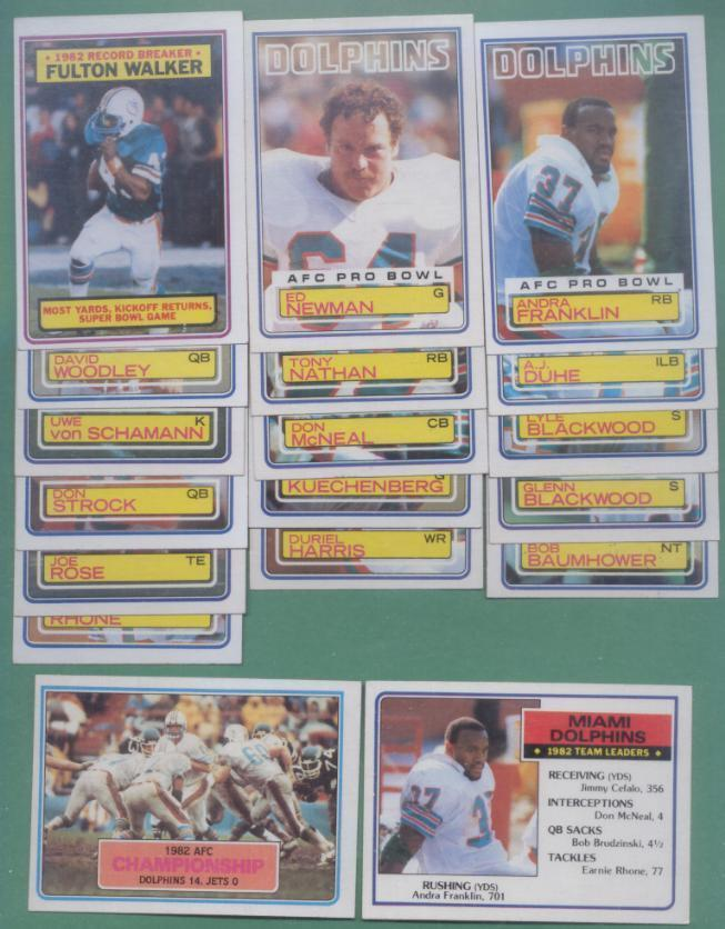1983 Topps Miami Dolphins Football Team Set
