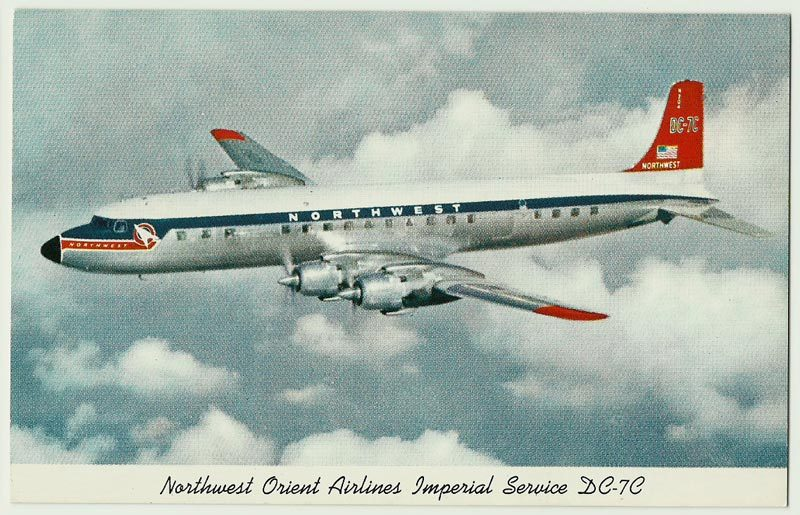 Northwest Orient, Full bleed kodachrome souvenir postcard, DC-7C in Flight, 1953