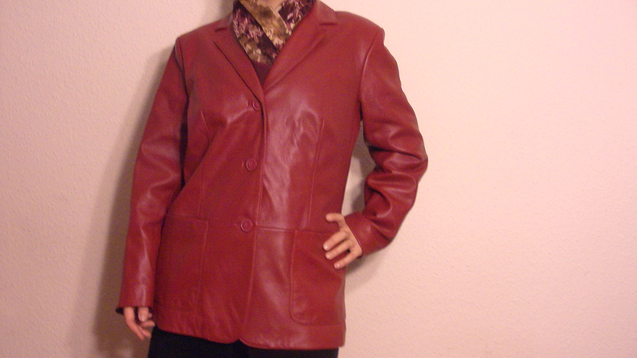 Primary image for  Preston & York  Dark Red Lamb Skin Cassic Ladies Woman Leather Jacket  Size M